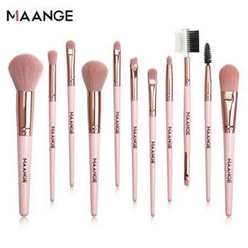 MAANGE 11 Pcs Makeup Brush Set - Pink Color